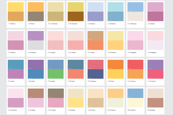 Pok 233 Mon Characters Represented By Their Pantone Shades