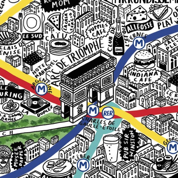 Incredibly Detailed HandDrawn Map Of Paris With Fun Illustrated – Map of Paris with Landmarks