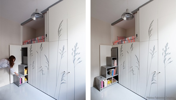 A tiny functional paris apartment that measures just 86 for Chambre 8 metre carre