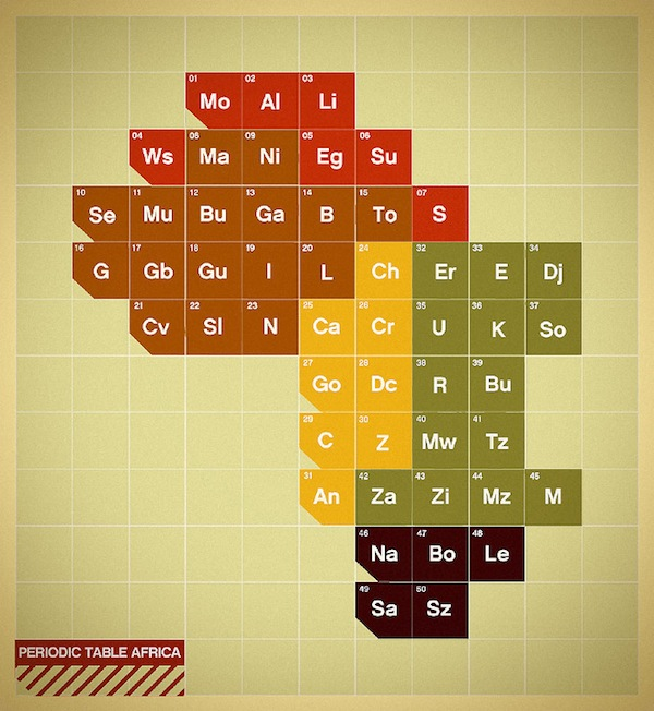 Maps Of Continents & Cities Re-Imagined As Periodic Tables