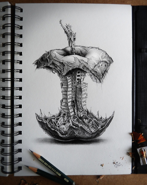 thought provoking graphite pencil drawings comment on the