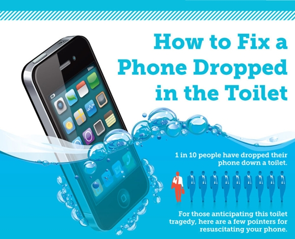 infographic how to fix a phone that has been dropped in a toilet. Black Bedroom Furniture Sets. Home Design Ideas