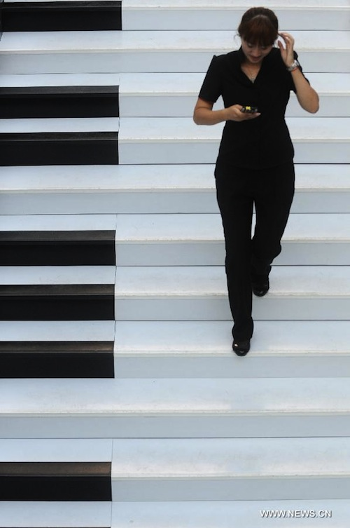 in china   u0026 39 piano staircase u0026 39  lets you make music by walking up and down