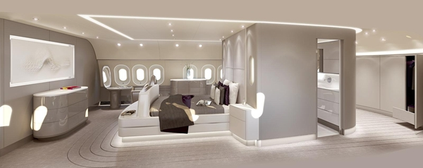 ultra luxurious in-flight experience with designer furniture and