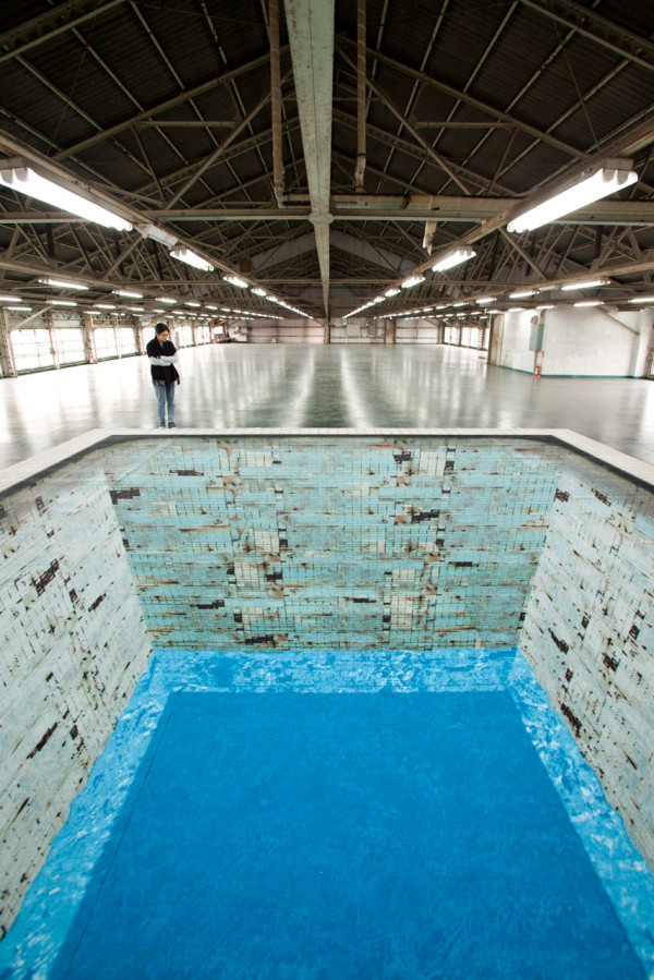 A mind bending optical illusion of a deteriorating empty swimming pool for Hudson swimming pool timetable