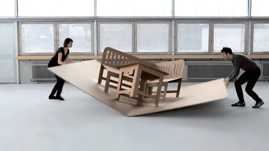Clever Flat Cardboard Pieces Pop Up Into Complete Sets of 'Furniture' -  DesignTAXI.com