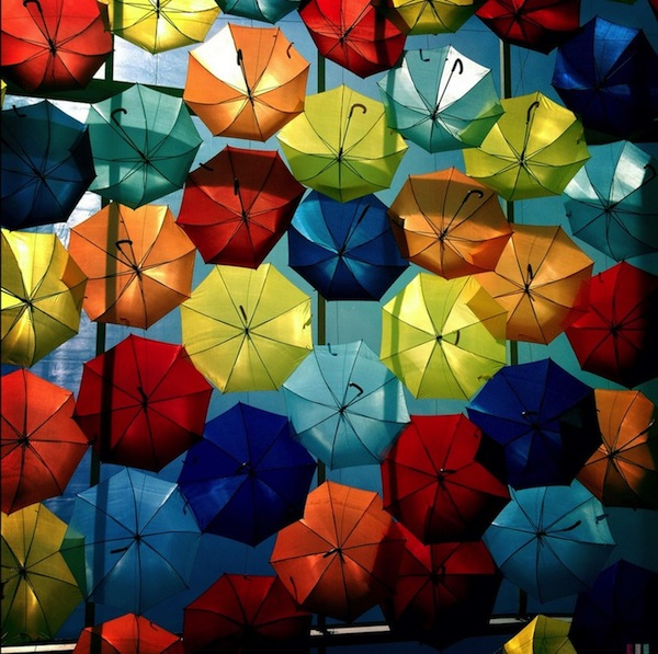 In Portugal, Beautiful Canopies Of Colorful Umbrellas Hover Over Streets