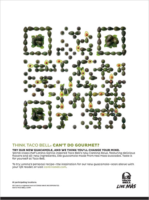 Liam thinks taco bell creates qr codes from lemons and avocadoes as part of the campaign to promote their new gourmet inspired cantina bell menu taco bell has released a line of print ads featuring creative qr codes made sciox Choice Image