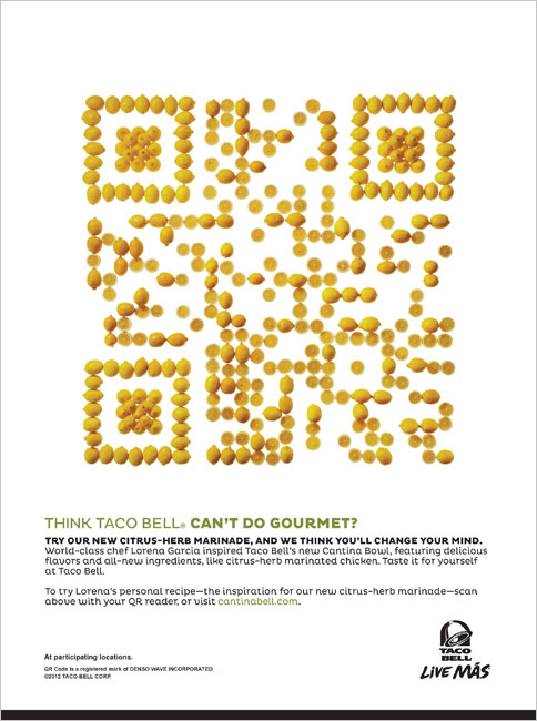 Taco bell creates qr codes from lemons and avocados designtaxi via ad week and anabelle breakey sciox Choice Image