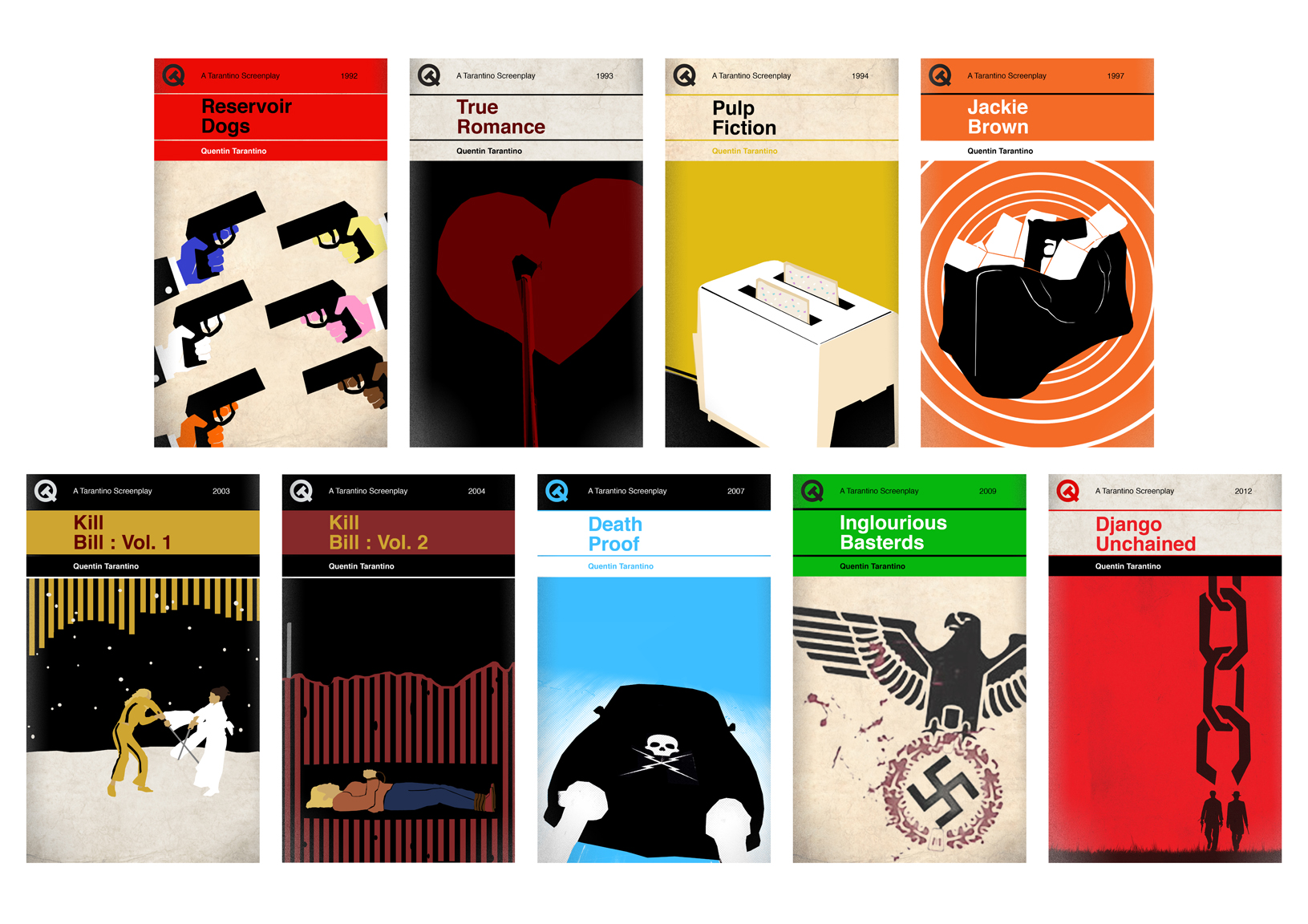 Book Cover Art Styles : Quentin tarantino films re imagined as 'penguin style