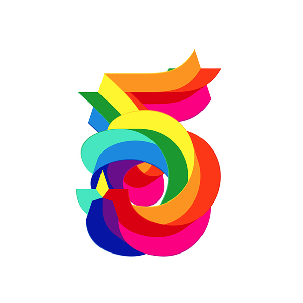 A Striking Vibrant Numeric Typeface Featuring The Colors