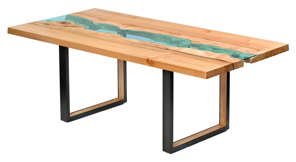 Amazing handcrafted tables with rivers flowing through for Table design river