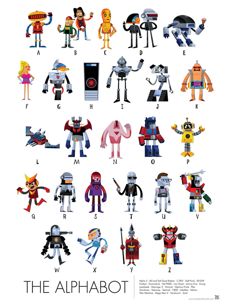 Poster that tests your knowledge on pop culture robots designtaxi