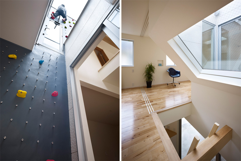 residential home equipped with rock climbing wall