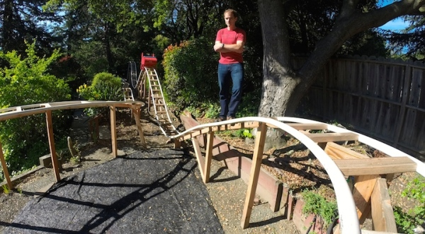 Awesome Dad Builds 180-Foot Backyard Rollercoaster For His Kids