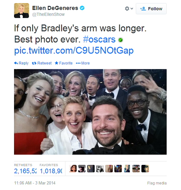 Ellen DeGeneres' Oscar Selfie Breaks Twitter Record For Most Retweeted Tweet