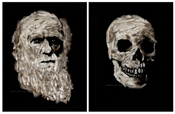 Artist Uses Scrap Materials To Form Images Of Famous Scientists And