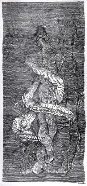 artist creates incredible scroll drawings in a moving car