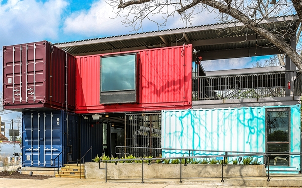 A Trendy Bar Built From Shipping Containers Designtaxi Com