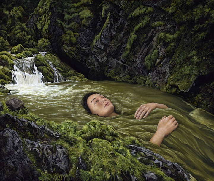 Surreal landscape paintings shows people literally immersed in nature
