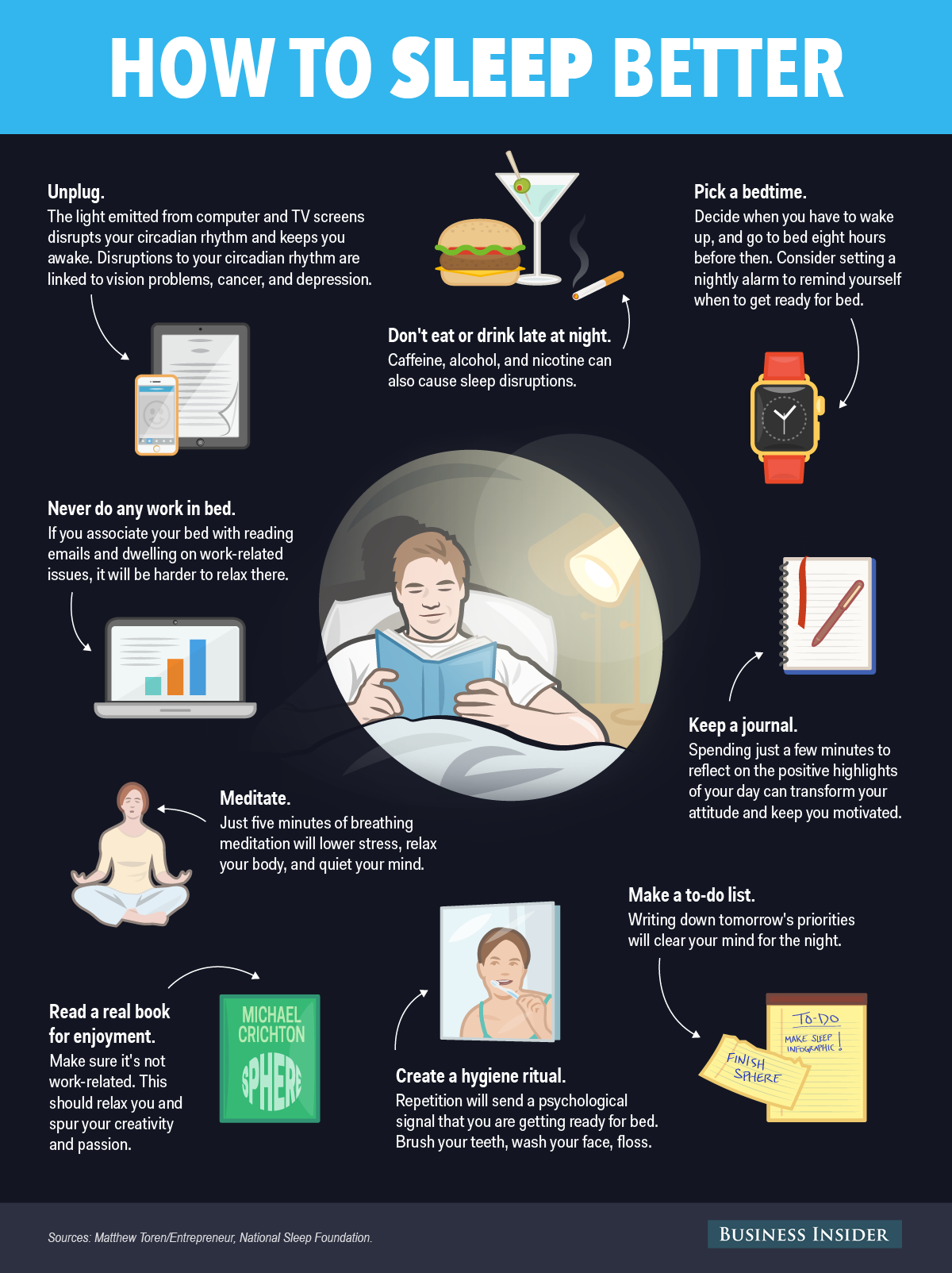 chart: nine things to do before bed that will help you sleep better