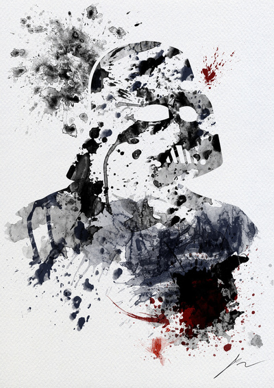 Darth Vader Portrait Created With Splattered Paint