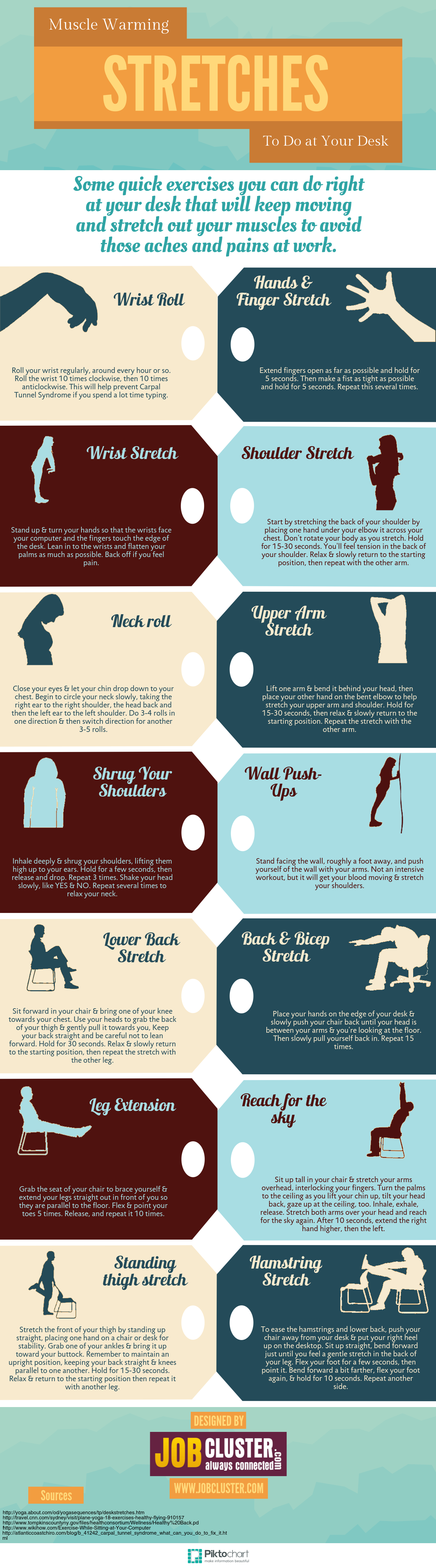 Infographic Quick Stretching Exercises You Can Do At Your Work Desk