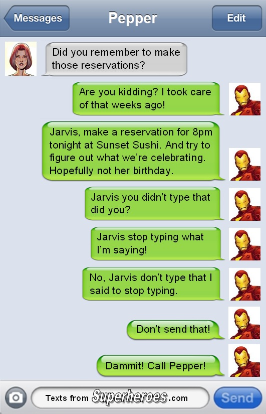 the text messages superheroes would send if they tried