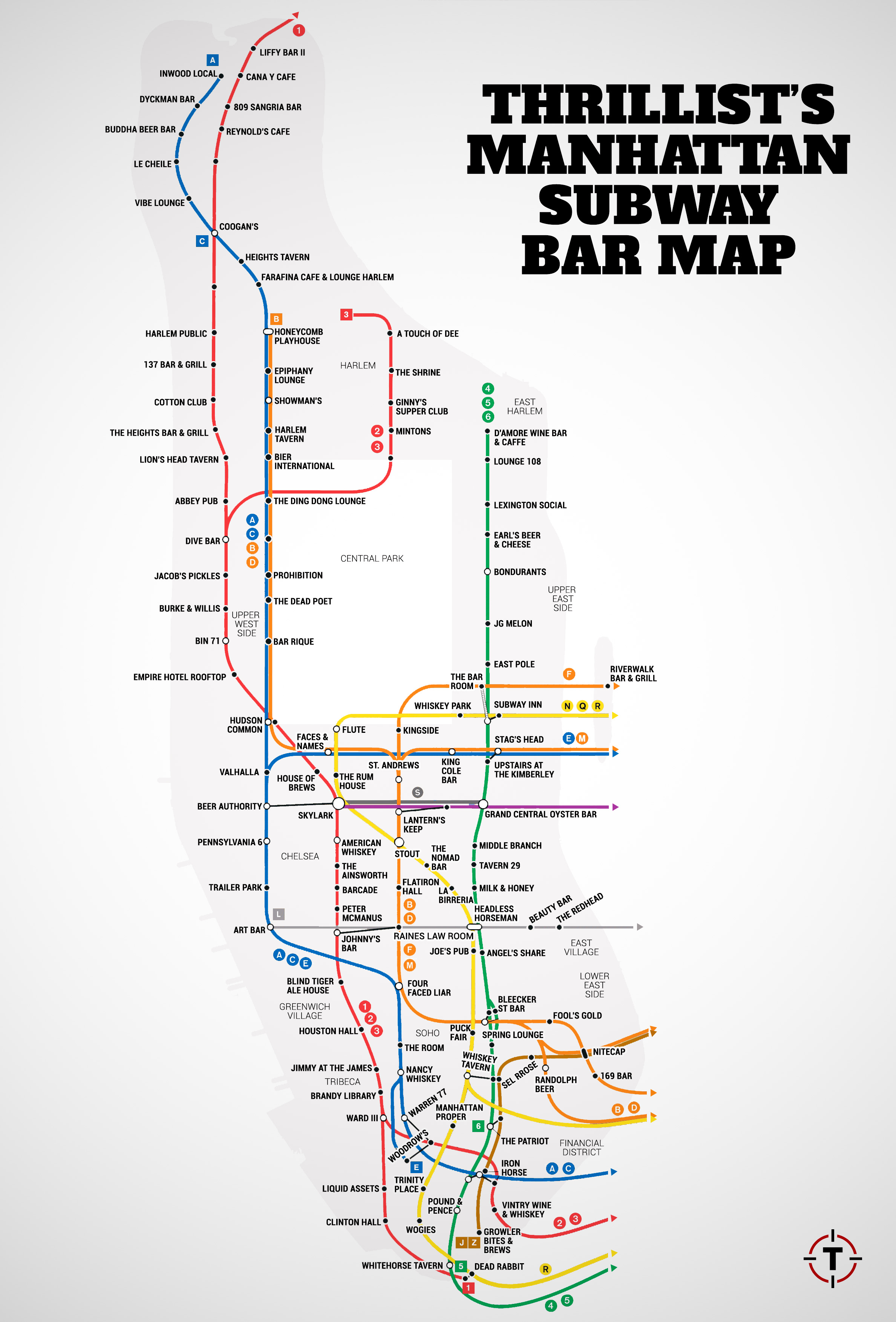 Howto Readthe Nyc Subway Map.A Map That Shows The Bars Nearest To Each Nyc Subway Station