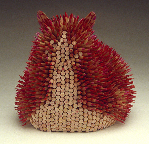 Sea Urchin Sculptures Created Out Of Color Pencils