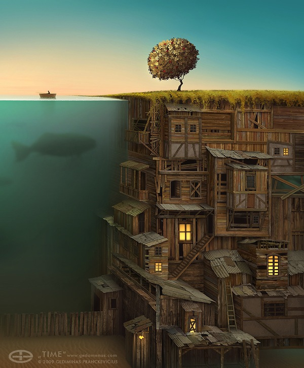 . Amazing Digital Paintings That Show Cramped Houses Built Into Tall