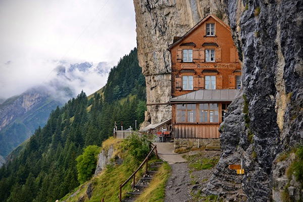 This hotel that is built into the swiss alps has a for Design hotels alps