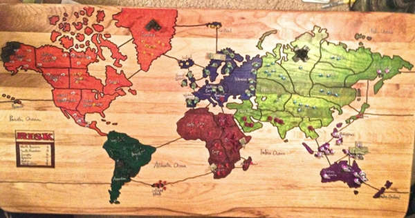 The Father Of Reddit User Fightingcrime Brought Board Gaming To Another Level When He Carved The Popular Game Risk Into Their Coffee Table