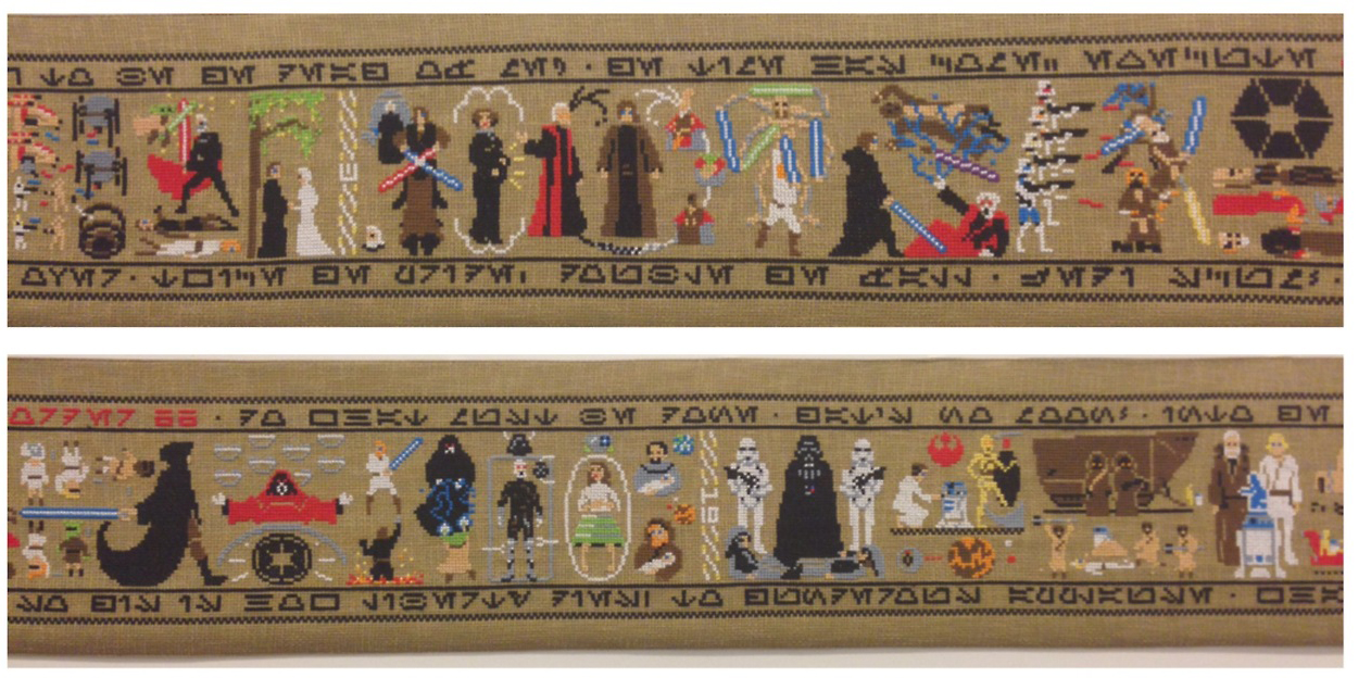 Artist Cross-Stitches Entire 'Star Wars' Series On 30-Foot-Long Tapestry