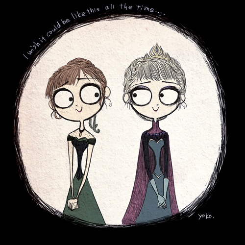 Disneys Frozen Illustrated In The Style Of Tim Burton -9746