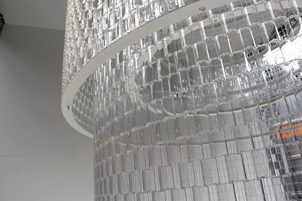 A Beautiful Floor To Ceiling Chandelier Made Of