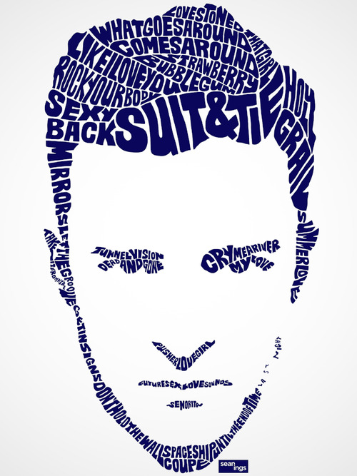 Using song lyrics artist creates typographic portraits of Typography portrait
