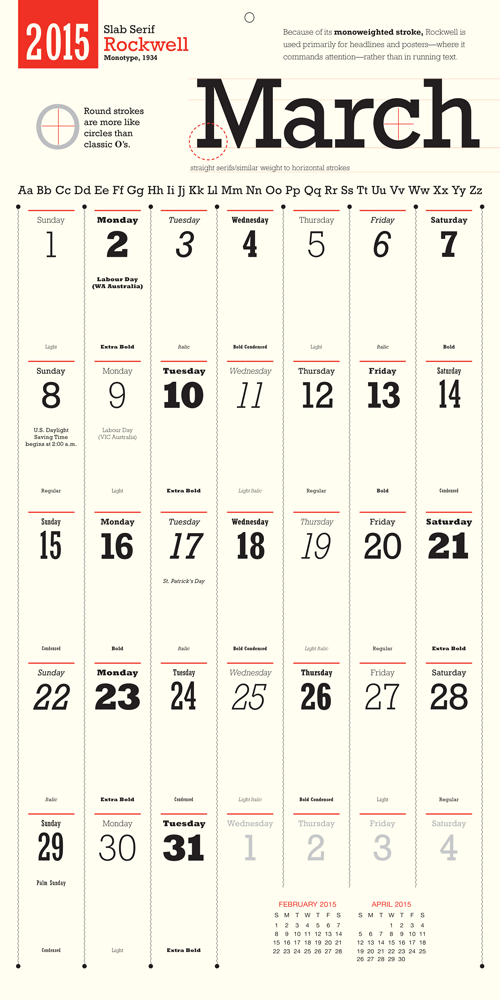 Calendar For Typography Nerds : A calendar that features different typeface for each