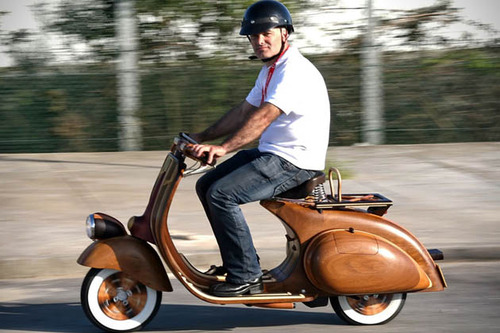 A Loving Father Crafts A Wooden Vespa Scooter For His Daughter
