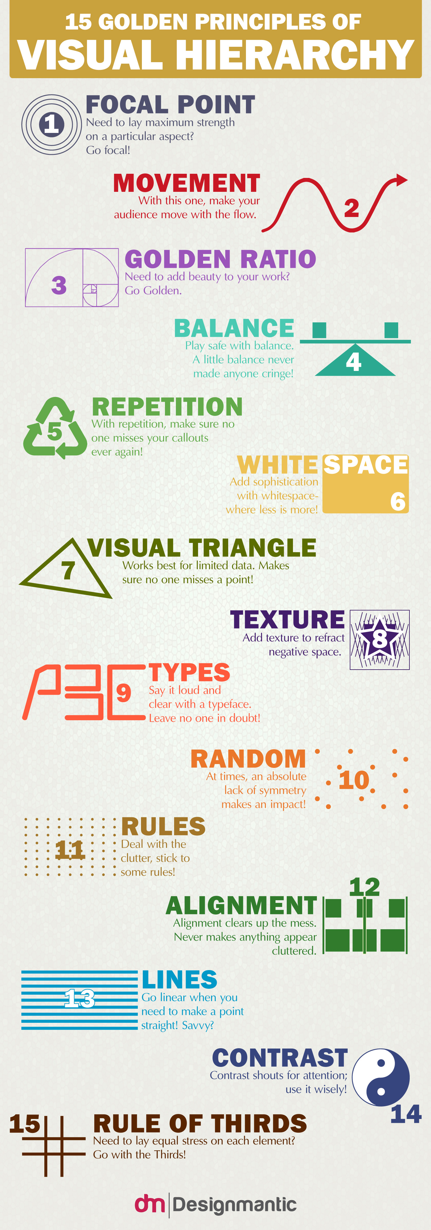 infographic 15 golden principles of visual hierarchy designtaxi com