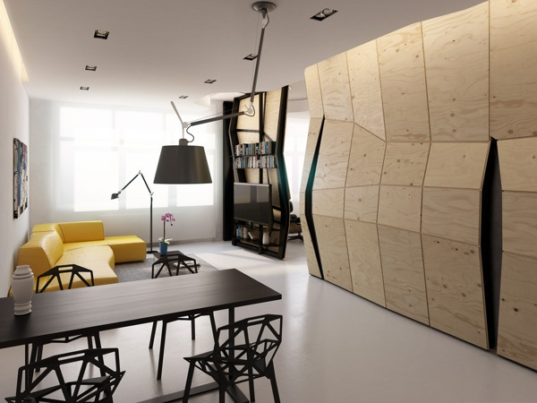 Sculptural Wall In Micro-Apartment Opens Up To Reveal Hidden Rooms