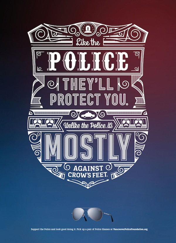 Liam Thinks Typographic Poster Ads For Police Sunglasses Feature