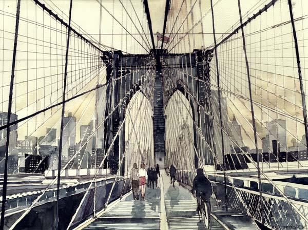 New York Painting Bridge Vibrant Watercolor Pai...