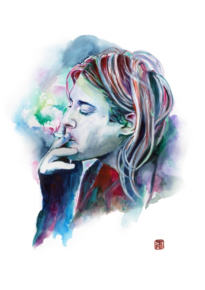 Expressive Watercolor Portraits Of Kurt Cobain, Other ...  Grunge