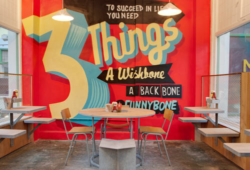 london eatery spruces up with typographic wall murals