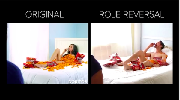 these reenacted ads reverse the roles of men and women