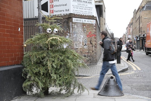 Artist Turns Discarded Christmas Trees Into Funny Googly